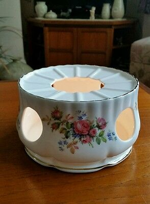 """Royal Albert Moss Rose Tealight Candle Holder Unusual And Rare  (5.5""""d ×3""""h)-Vgc"""