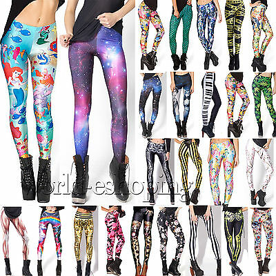 Sexy Womens 3D Printed Skinny Stretch Leggings Jegging High Waist Pants Trousers