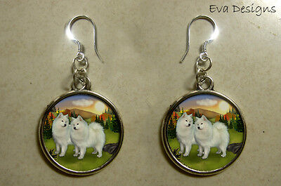 Samoyed Dogs Jewelry Art Gift Dangle Sterling Silver Hooks Round Charm Earrings