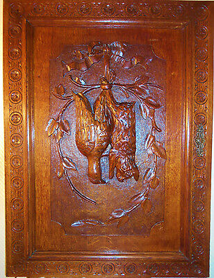 33'' x 24'' French Black Forest Carved Oak Panel Frame Picture - Hunting Trophy