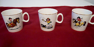 Norman Thelwell Pony Mugs Vintage set of 3 by F.R. Gray & Sons