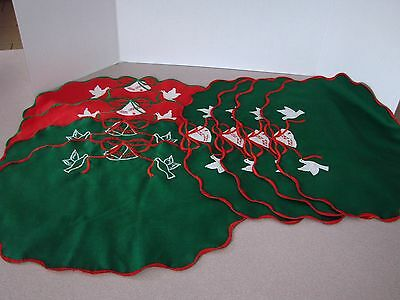8 VTG XMAS PLACEMATS Doves- home made