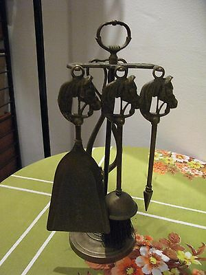 Old Brass Horses Head 4 Tools & Stand Fireside Companion Set