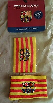 BNWT FC Barcelona junior sweatband in yellow and red strip colours