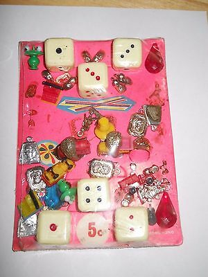 Vintage Vending Machine Display Header Card Toy Large Dice And Charms