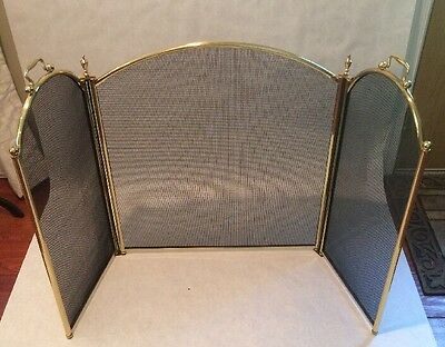 Arched Vintage Brass Finished Fireplace Screen Spark Guard Great Condition