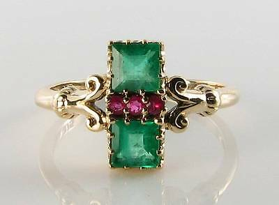Combo 9Ct 9K Gold Colombian Emerald & Indian Ruby Art Deco Ins Ring