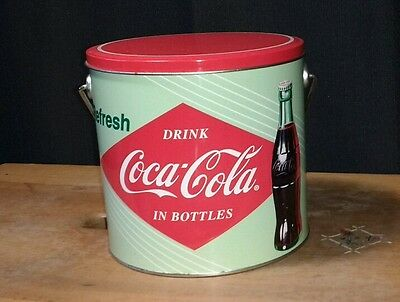 Vintage Coca Cola Tin Cannister with handle- Collectible