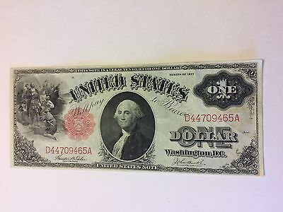1917 US Large Banknote Washington 1 One Dollar Bill Bright Red Seal
