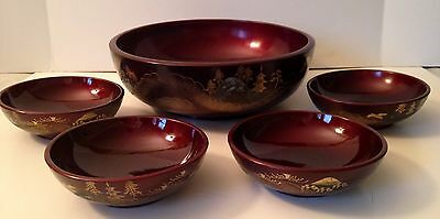 Vintage NTS Burgundy Lacquer Hand Painted Wood Japanese 5 Bowl Set