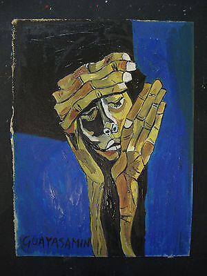 OSWALDO GUAYASAMIN     Oil painting on original old cardboard.