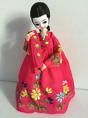 """Vintage Korean 10"""" Hand Crafted Doll In Traditional Clothing"""
