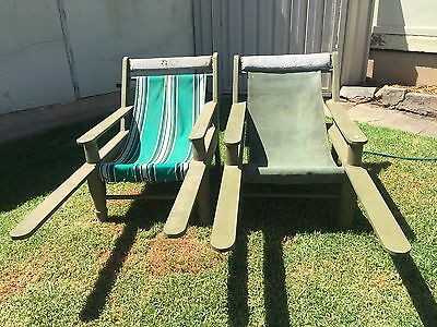 2Large Squatters chair solid timber with Canvas seat veranda chair country style