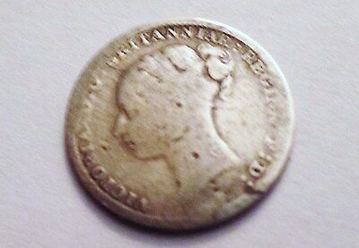 Antique 1883 Great Britain 3 Pence Silver Coin