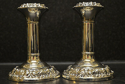 Pair of Rare Edwardian Column Candlesticks by Mitchell & Cooper - 1905 Hallmark