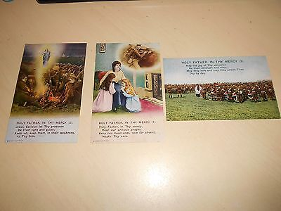 SET OF 3 WW1 BAMFORTH SONG CARD PCs - HOLY FATHER IN THEY MERCY - 4841 - VGC