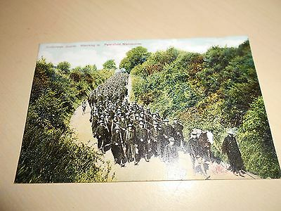 EARLY 1900s MILITARY PC - THE COLDSTREAM GUARDS MARCHING TO PETERSFIELD - VGC