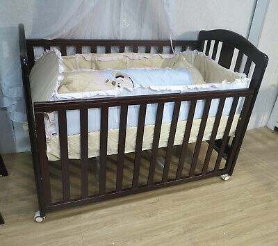 3 IN 1 CLASSIC COT INNERSPRING MATTRESS CRIB BABY  Wheel Dropside Brown Walnut