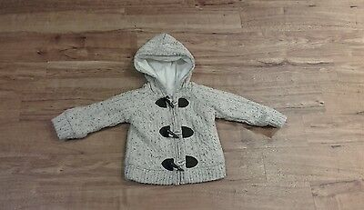 Baby boys beige lined hooded cardigan, age 6-9 months. Great condition