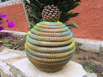 Handcrafted Pine Needle Basket Connected Lid With Pine Cone Handle