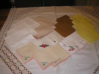 Job Lot Of 21 Vintage/retro Napkins.assorted Styles.