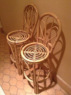 Wicker / Bamboo vintage bar stools peacock chair style 1970's