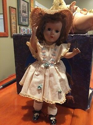"""Rare 14"""" American Character Sweet Sue Hard Plastic Doll With Pink Dress Hat"""