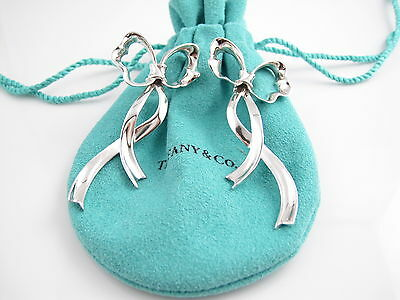 Rare Tiffany & Co Silver Large Ribbon Bow Earrings Pouch Included