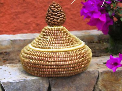 Handcrafted Pine Needle Basket And Lid With Pine Cone Handle