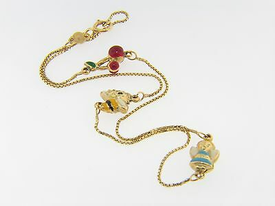 Contemporary Cherry, Bee & Angel Very Fine Enamel Charm Anklet 14K Yellow Gold
