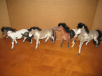 Lot of 4 Flocked Horses with Fur Manes Great condition!!