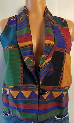 Vintage A.k.f. New York Women's Small Multi-Color Vest (W)