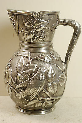 """Plated pitcher by Meriden, high relief """"Japanese style"""" Aesthetic, 80oz, 1885"""