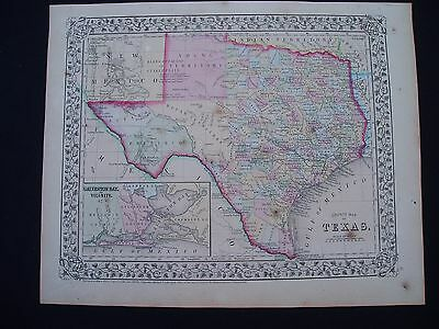 1870 Mitchell Atlas Map State of Texas  Genuine Antique