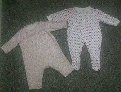 2 x girls babygrows, all in one, footless Boots miniclub; Early Days 0-3 months