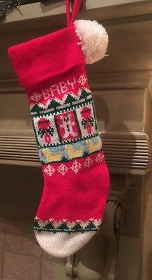 VINTAGE KNIT CHRISTMAS STOCKING FOR BABY POM POM And Duckies