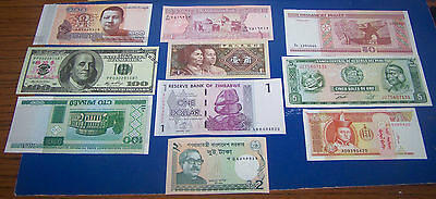 10  Foreign Bank Note's  Set 1 Uncirculated
