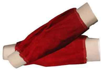 """Langley Red Leather Welders Sleeves elasticated cuff 14"""" for Welder / Blacksmith"""