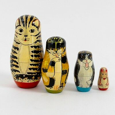 EXCELLENT Vintage Nesting CATS - Set of THREE + A MOUSE! - Hand-Painted WOOD