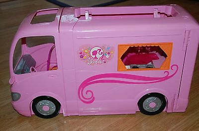 Barbie Glamour Camper Van Camping Car Rose Excellent Condition Boxed