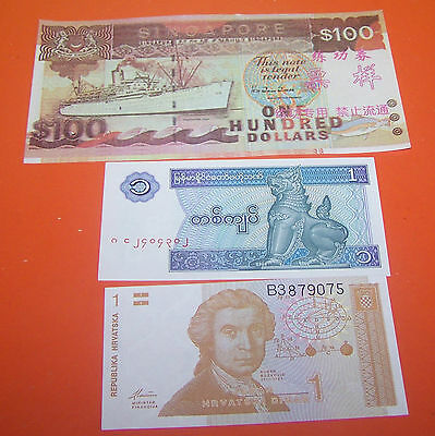 THREE FOREIGN  BANK NOTE'S   (No.65)