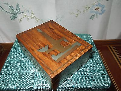 Wooden Box with Inlaid Metal Candle Design. Slide Lid