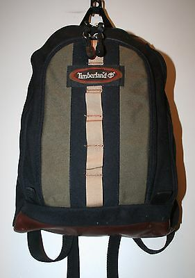 VINTAGE Timberland Backpack Black& Green  Canvas  Leather Bottom Rucksack