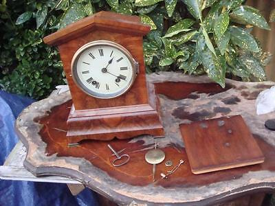 Clock Parts Vintage Old Mantle Clock  Needs Restoration Or For Spare  / Repair