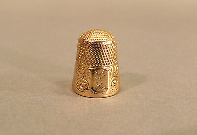 Antique 19thC 14K Yellow Gold Size 7 Sewing Thimble
