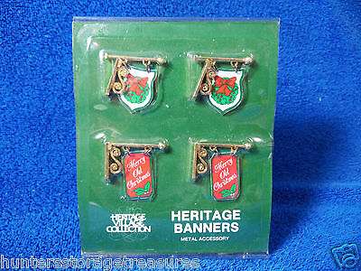 Dept 56 Heritage Village Metal Banner Sign Pack of 4 Replacement Parts 5526