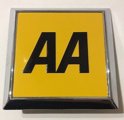 AA Automobile Association Vintage Metal Square Car Badge Exceptional Condition