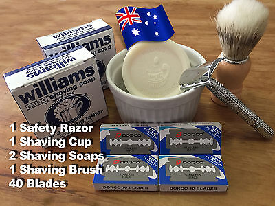 Safety Razor, Shave Brush, Shave Cup, 2 Shaving Soaps, and 40 Blades