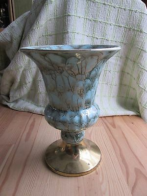 Vintage Hand Painted Delft Ware Vase with Brass Accents Turquoise