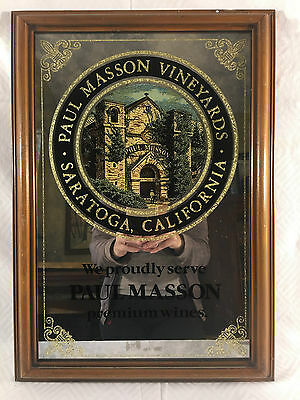 Vintage Paul Masson Premium California Wine Mirror Sign Bar Man Cave Restaurant